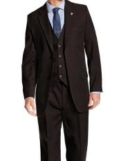 SKU#SM1213 Men's Stacy Adams Brand 3 Piece Notch Lapel Heather Brown Single Breasted 1920s Suny Vested Suit