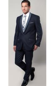 SKU#SM1317 Tazio Brand Mens 1 Button Blue Two Toned Trimmed Tuxedo Slim Fitted Suit