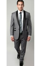 SKU#SM1314 Tazio Brand 1 Button Mens Two Toned Trimmed Tuxedo Grey/Black Slim Fitted Suit