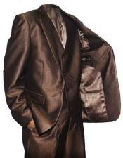 SKU#SM1328 Falcone Vested 3 Piece 2 Button Vested Brown ~ Bronze Shiny Sharkskin Suit