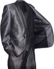 SKU#SM1325 Falcone 2 Button Vested Grey Shiny Sharkskin Suit