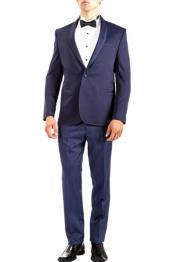 SKU#SM1331 Navy Men's 1 Button Single Breasted Shawl Pattern Slim Fit Center Back Vent Tuxedo
