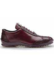 Burgundy ~ Wine ~ Maroon Color Belvedere Paulo Genuine Ostrich And Soft Calfskin Sneakers
