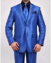 SKU#SM1374 Men's 2 Button Single Breasted Shiny Sharkskin Oxford Fitted Royal Blue Suit