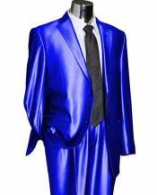 SKU#SM1379 Men's Royal Blue 2 Button Single Breasted Notch Lapel Utex Shiny Sharkskin Suit