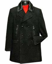 SKU#SM1402 Black Men's 6 Button Double Breasted Notch Peacoat