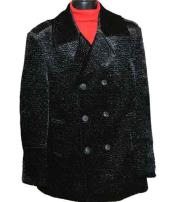 SKU#SM1446 Men's Double Breasted 6 Button Black Winter Coat