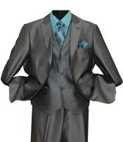 SKU#SM1440 Grey Men's Single Breasted 2 Button Striped Peak Lapel Vested Suit