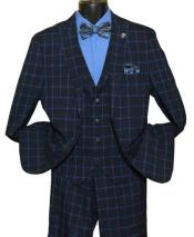 SKU#SM1445 Men's Single Breasted Windowpane Peak Lapel 2 Button Side Vent Navy Blue Vested Suit