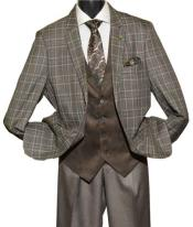SKU#SM1441 Men's Taupe Single Breasted 2 Button Notch Lapel Plaid Vested Suit