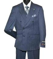 SKU#SM1457 Men's 6 Button Striped Double Breasted Peak Lapel Navy Blue Suit