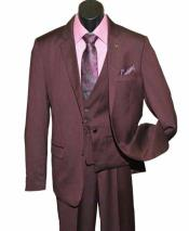 SKU#SM1459 Men's 3 Piece Burgundy Single Breasted Notch Lapel Chain Closure Vested Suit