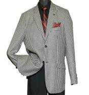SKU#SM1452 Men's Black/White Houndstooth Single Breasted 2 Button Peak Lapel Suit