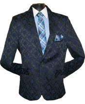 SKU#SM1453 Men's Single Breasted Classic Fit One Button Shawl Lapel Navy Blue Suit
