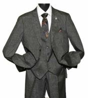 SKU#SM1469 Men's Peak Lapel 2 Button Side Vent Single Breasted Vested Charcoal Suit