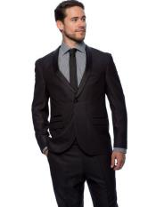 SKU#SM1486 West End Men's 1 Button Young Look Slim Fit Black Satin Shawl Collar Solid Tuxedo
