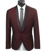 SKU#SM1525 Men's Slim Fit 1 Button Burgundy Two Toned Black Lapel Satin Shawl Collar Dinner Jacket Looking!