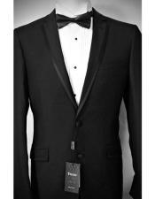 SKU#SM1555 Men's Slim Fit Tiglio Luxe Italian Notch Lapel Two Button Black Wool Tuxedo