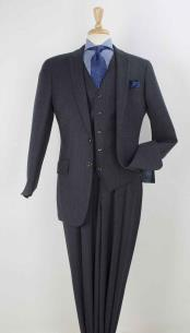 SKU#SM588 Mens 100% Real Wool Pleated Wide Leg Pants Single breasted 2 Button Discounted Suit Online Navy