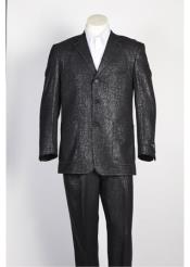 SKU#SS-4122 Mens 3 Button Single Breasted Shiny Paisley Floral Suit Black