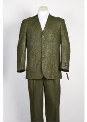 SKU#SS-7632 Mens Olive Single Breasted 3 Button Shiny Paisley Floral Suit Olive