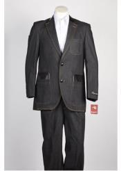 SKU#AC-170 Fashion Two Button Cotton Timmed Denim Suit Two Button Velvet Lapel Black,Blue,Brown