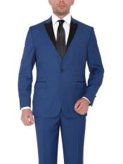 SKU#SM1649 Men's 1 Button Single Breasted Wide Satin Peak lapel Blue Platinum Slim fit Tuxedo