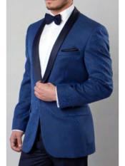 SKU#SM1642 Men's Blue 1 Button Shawl Colar Paisley Single Breasted Tuxedo Slim Fit Blazer