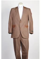 SKU#SS-8412 Mens Denim Jean 2 Button Single Breasted Suit Brown