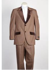 SKU#Sss-9632 Mens 2 Button Single Breasted Velvet Suit Denim Jean Brown