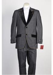 SKU#Ss-8522 Mens 2 Buton Velvet Single Breasted Suit Denim Jean Grey