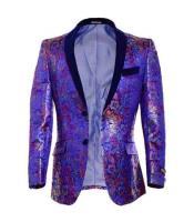 SKU#SM1686 Mens Fuchsia Polk Dots Floral Paisley Purple ~ Lavender Print Festive Tuxedo Looking Blazer Sportcoat
