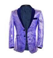 SKU#SM1680 Purple ~ Lavender Mens Fuchsia Polk Dots Floral Paisley Print Festive Blazer Sportcoat Tuxedo Looking