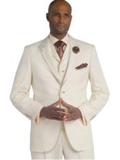 SKU#SM1694 Men's 3 Piece Cream Ivory Off White Peak Lapel Stitch Fashion Vested Suit