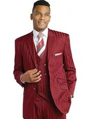 SKU#SM1696 Men's Notch Lapel Wine Burgundy Shadow Striped 3 Piece Double Breasted Vest Suit