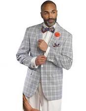 SKU#SM1691 Men's Fashion Plaid 1 Button Grey Peak Lapel Vested Checked Blazer