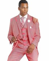 SKU#SM1693 Men's 3 Peice Single Breasted Trimmed Red Peak Lapel Fashion Vested Suit