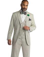 SKU#SM1707 Men's Olive Peak Lapel 3 Peice Modern Fit Single Breasted In Wool Blend Vested Suit
