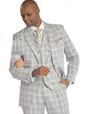 SKU#SM1704 Men's Peak Lapel 3 Peice Plaid Grey Single Breasted Fashion Vested Suit