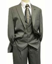 SKU#SD66 Stacy Adams Mens Pinstripe Mars Vested Grey Fashion Suit