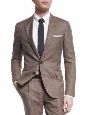 SKU#SM1721 Men's 2 Button Taupe Single Breasted Notch Lapel Wool Blend Textured Suit