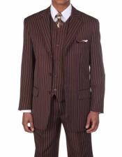 Brown/White 3 Button Vested