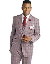 SKU#SM1757 Men's Peak Lapel Modern Slim Fit 3 Piece Plaid Red Vested Suit