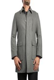 SKU#SD68 Mens Wool Blend Peacoat Light Grey