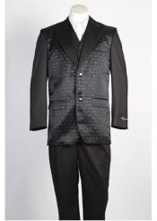 SKU#SS-4512 Mens 2 Button Shiny Single Breasted Suit