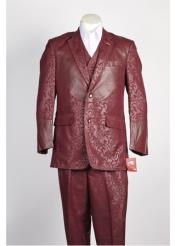 SKU#SS-9656 Mens 2 Button Shiny Single Breasted Suit Wine