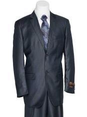 SKU#SM1800 Men's Navy Blue 2 Button Solid European Design Slender Fit Shiny Suit