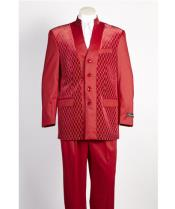 SKU#SS-8526 Mens 4 Button Red Shiny Single Breasted Suit