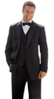Button Solid - plain Soft 3 Pieces Vested Tuxedo Super 150s Wool Suit + Tuxedo Shirt