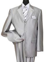 SKU#SM1902 Men's Silver Notch Lapel Shiny Sharkskin 3 Button Side Vent Suit